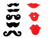 100 pcs Mustache Moustache Party Photo Booth Props Red Lips Staches Die Cuts Made to Order