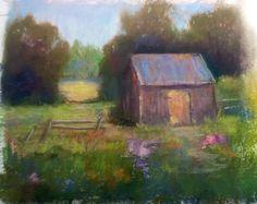 Lakeside Farm.  Pastel 5x7 on sanded paper by Sandi Graham