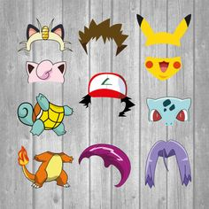 Pokemon Photo Booth set 25 pieces  Printable Instant