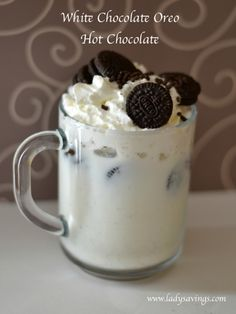 White Chocolate Oreo Hot Chocolate Recipe!  Delicious Hot Chocolate Recipe made with Crushed Oreos, Whipping Cream, White Chocolate Chips, Milk and Whipped Cream!