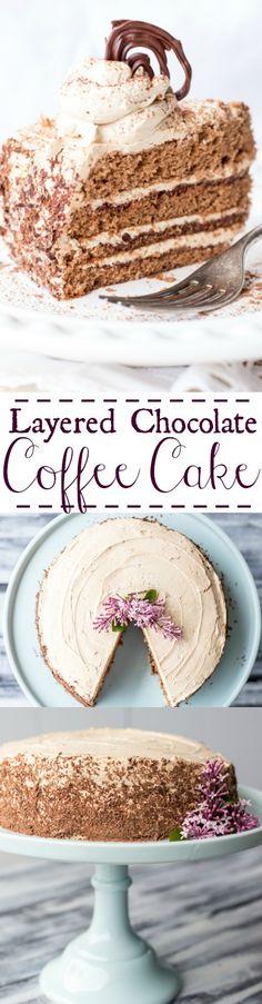 Layered Chocolate Coffee Cake. ValentinasCorner.com