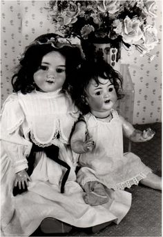 sale -VINTAGE DOLL PHOTO  -Two Antique Porcelain Dolls -  from Antique Doll Collectors Photograph Inventory