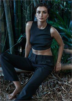 Beauty Andreea-Diaconu in Mango 2014 , green