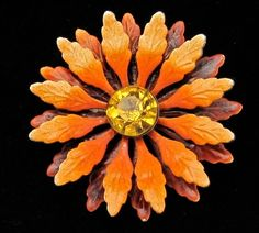 Autumn Flower Pin Vintage Enamel Rhinestone Fall Topaz