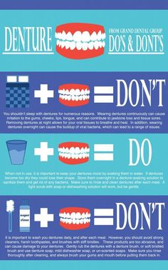 Learn the do's and don'ts of denture care in our Grand Dental Group blog! Teeth Health, Healthy Teeth, Dental Health, Oral Health, Health Tips, Kids Health, Dental Assistant, Dental Hygiene, Dental Care
