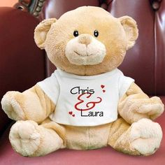 Personalized Romantic Hearts Teddy Bear