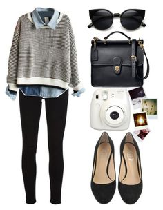 black pants leggings, blue denim shirt, white grey sweater