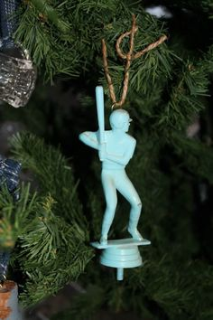 up cycle old trophies into Christmas ornaments