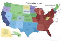 Favorite recording artists by state [MAP] via Professu #music #Infographic