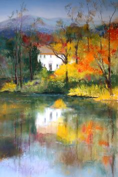 46 Soothing Autumn Landscape Ideas For This Season - With summer winding down, it's about time to think about the landscaping and cleanup projects you can do this autumn in preparation for the upcoming m. Watercolor Landscape Paintings, Abstract Landscape, Watercolor Paintings, Landscape Design, Oil Pastel Landscape, Pastel Paintings, Impressionist Paintings, Impressionism, Autumn Painting