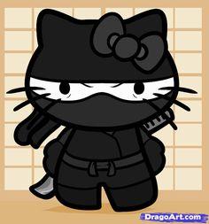 How to Draw Ninja Hello Kitty, Step by Step Hello Kitty Art, Hello Kitty Birthday, Here Kitty Kitty, Hello Kitty Pictures, Kitty Images, Sanrio, Ninja Birthday, Hello Kitty Wallpaper, Geek Stuff