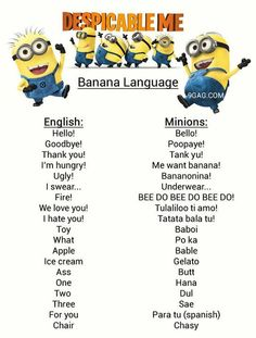 Despicable Me - Banana Language