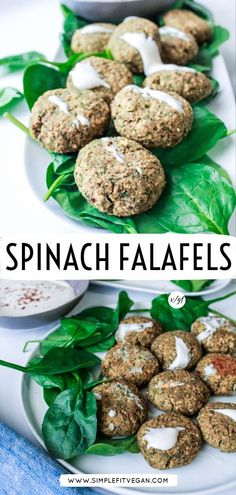 Authentic, easy, and tasty Spinach Falafel recipe. It's vegan, freezer-friendly, and baked for a healthy twist. Save this recipe as it will become your favorite go-to vegan lunch and dinner! It's also perfect for meal-preps! Vegan Falafel Recipe, Vegan Lunch Recipes, Vegan Lunches, Vegan Meal Prep, Best Vegan Recipes, Healthy Eating Recipes, Vegan Dinners, Clean Recipes, Whole Food Recipes