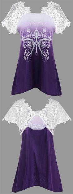 summer style:Lace Insert Butterfly Print Asymmetrical T-shirt