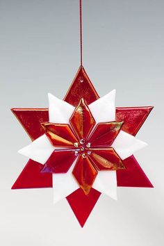 Poinsettia, Fused glass and Red on Pinterest