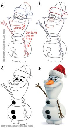 Disney Drawing How to Draw Olaf with Santa Claus Hat On Step by Step Drawing Tutorial - Learn how to draw Olaf, from Disney's Frozen, wearing a Santa Claus Hat to celebrate Christmas. Christmas Doodles, Christmas Cartoons, Christmas Drawing, Christmas Art, Christmas Pictures To Draw, Christmas Games, Art Drawings Sketches, Disney Drawings, Cartoon Drawings