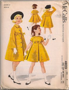 Vintage 1950's Girl's Dress and Coat Pattern by SewPatterns, $9.00
