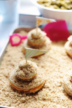 Sandcastle sandwiches. via Rust & Sunshine: Abe's First Birthday Party Great ideas!