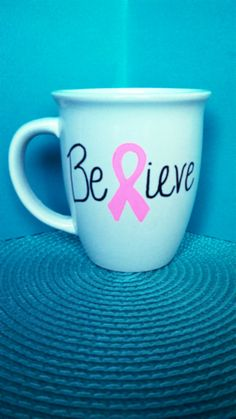 Breast Cancer Awareness Coffee Mug 14oz. Pink Ribbon by TheTinyOne