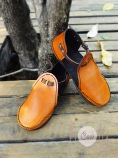 Beautiful Handmade Orange Leather Sandals by HolyCowproducts, $115.00