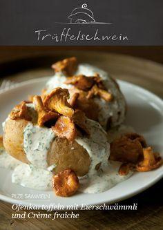 Ofenkartoffeln mit Crème fraîche und Eierschwämmli #chanterelle