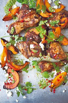 Diana Henry's Mexican chicken recipe is marinated with fresh thyme, oregano, cumin and allspice before being roasted with pumpkin.
