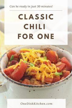 This hearty classic chili recipe is loaded with flavorful ground beef, vegetables, red beans, and spices. It can be ready in just 30 minutes and is perfect for a busy weeknight. Consider topping your bowl of chili with sour cream, chopped jalapeños, shredded cheese, and chopped cilantro. Food Dishes, Main Dishes, Classic Chili Recipe, Breakfast Recipes, Dessert Recipes, Single Serving Recipes, Cooking For One, Red Beans, Chili Recipes