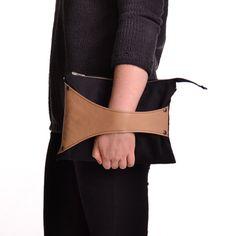 Leather Detail Cross Body Bag / Clutch in Black by SalmiakStudio, $65.00