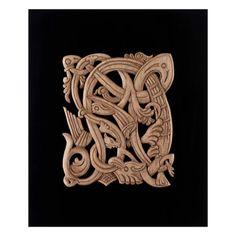 Celtic wood carving artwork