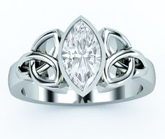 Triquetra Celtic Solitiare Marquise Diamond Engagement Ring bezel set in 14K White Gold
