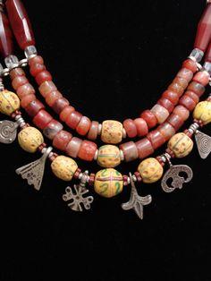 Antique Carnelian & African Trade Bead Necklace via etsy