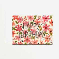 Card, Greeting card, Happy Birthday, stationery, flowers, carte de vœux, anniversaire, fête, carte postale, fleurs