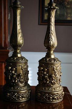 Pair of Gilt Brass Baroque Style Table Lamps w/ Cast Putti / Cherub Relief Base