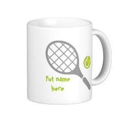 Tennis racket and ball custom basic white mug