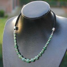 Aventurijn edelsteen ketting om zelf te maken, sieradenpakket van #kralenwebshop #Kralenkwarts