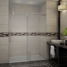 Aston Langham 60-in x 75-in Completely Frameless Alcove Sliding Shower Door in Chrome | Overstock.com Shopping - The Best Deals on Shower Doors