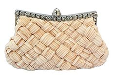 Chicastic Pleated and Braided Rhinestone studded Wedding Evening Bridal Bridesmaid Clutch Purse - Beige Chicastic