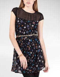 Vestido print joyas plisado