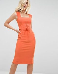 ASOS Premium Heavy Rib Pencil Dress With Corset