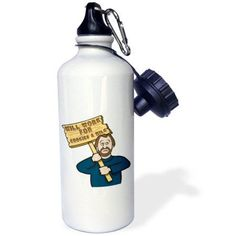 3dRose Funny Humorous Man Guy With A Sign Will Work For Cookies And Milk, Sports Water Bottle, 21oz