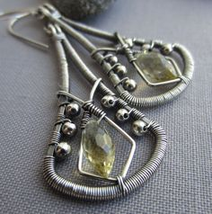Silver Silver Wire Earrings w. Champagne Quartz/ Wire by mese9, $37.00
