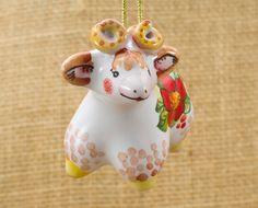 Russian majolica Christmas tree ornament Lamb . Grey lamb figurine. Farm animal figurine. Ceramic lamb. Small lamb figurine. Christmas gift