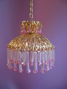 dollhouse-doll-house-miniature-ELECTRIC-CHANDELIER-HANGING-LAMP-ROSE