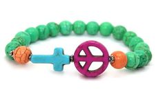 Beautiful Green Magnesite, Pink Magnesite Peace Sign and Turquoise Magnesite Cross Stretch Bracelet | AyaDesigns - Jewelry on ArtFire