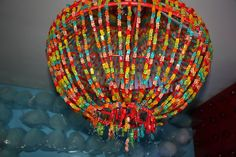 Gummy bears chandelier.  I do not think I want to make one but man does it look neat!