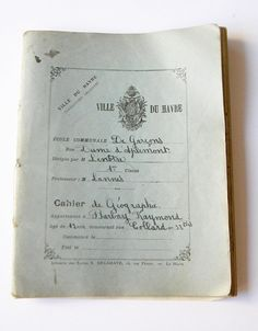 vintage french notebook handwritten school geography notes