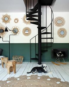 home decor palets Room Colors, Wall Colors, My Living Room, Home And Living, Book Stairs, Milwaukee Home, Stair Wall Decor, Half Painted Walls, Off Grid House