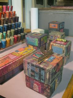 Boxes from Liberty Paper. Handmade Paper Boxes, Paper Purse, Matchbox Art, Fabric Boxes, Antique Boxes, Altered Boxes, Little Boxes, Book Making, Bookbinding