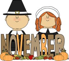 Free Month Clip Art | Month of November Pilgrims Clip Art Image - the word November in brown ...