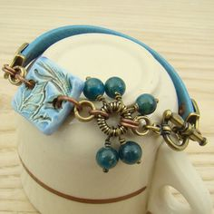 Leather ceramic bracelet blue apatite copper by laurelmoonjewelry, $24.00
